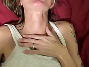 Skinny granny quickie internal cumshot before sofa