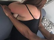 Black man fucking and dumping his load in a wifes pussy